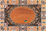 4and039x3and039 Marble Corner Dining Table Top Pietra Dura Inlay Work Outdoor Decors B465