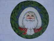 Santa In Wreath Ornament Hand Painted Needlepoint Liz Or-188 Tapestry Tent