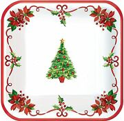 Traditional Christmas Winter Theme Holiday Party 7 Square Paper Dessert Plates