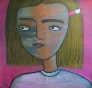 Painting Girl With Cat Naive By Nono Acrylic Hello Kitty Hairpin 48x51
