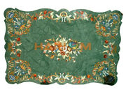 4and039x3and039 Green Marble Dinner Table Top Marquetry Inlay Home Furniture Decorate B487