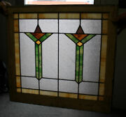 Antique Stain Glass Window In Original Frame – Arts And Crafts Mission Design