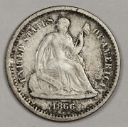 1866-s Liberty Seated Half Dime. Original Uncleaned V.f.  149863