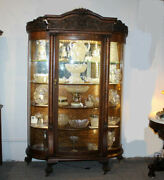 Antique Fancy Curved Glass Oak China Cabinet With Carved Lionandrsquos And Claw Feet