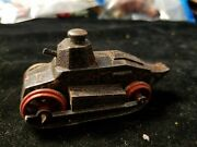 Antique Cast Metal All Metal 3 Toy Tank Rubber Tires