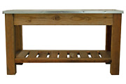 Redwood Patio Console Table And Outdoor Garden Utility Table Stainless Steel Top
