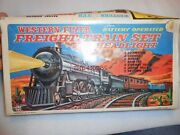 Marx Western Flyer Tin Freight Train Battery Operated Set In Box
