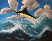Original Ocean Painting Rare Signed Hayden Shirley Hand Painted Marlin Seascape