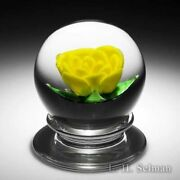 Wesley Lutz Yellow Crimp Rose Pedestal Glass Paperweight