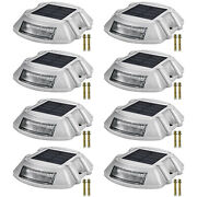 Driveway Lights Solar Dock Lights 8-pack Led Pathway Lights W/ Switch White