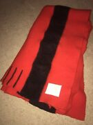 Vintage English Hudsonand039s Bay 4 Point Wool Blanket Red And Black