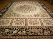 Floral Needlepoint Rug 12and039 X 18and039 Ivory-black Handmade Rug S10-4089