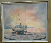 Vintage Painting...bermuda Fisherman By Fishing Boat In Dry Docksigned Carter