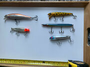Vintage Lot Of Fishing Lures Lot If 5. Red Fin , Heddon,spro,fisholure.etc