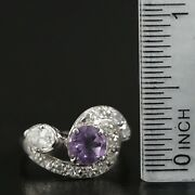 Unique Vintage .63 Ctw Diamond And 6mm Amethyst 14k White Gold Pinky Ring