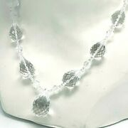 Quartz Crystal Necklace Faceted Graduating Beads Pear Pendant 14k Gold Clasp
