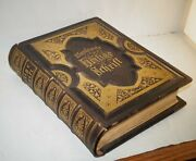Rare Antique 1882 German Bible Heavily Illustrated Gold Gilded Leather Binding