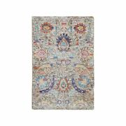 2and039x3and039 Sickle Leaf Design Silk With Textured Wool Hand Knotted Rug R58187