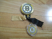 1970 Boston Bruins 2.25 Button W/ Ribbons And Key Chain Bobby Orr Phil Esposito