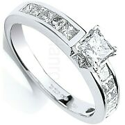 Certificated Diamond Solitaire Ring One Carat 18k White Gold Large Sizes R - Z