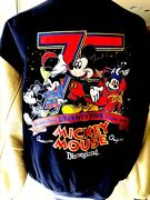 Rare Disney 75th Anniversary Mickey Mouse Disneyland Leather 6 Patches Xl Jacket