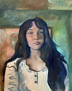 Girl Large Abstract Portrait Oil Painting 22x28 Original Signed On Canvas