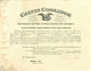 Calvin Coolidge - Civil Appointment Signed 04/27/1926 Co-signed By Harry S. New