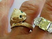 14k Yellow Gold Cat Ring With Emerald Eyes By Slack 13 Mm Wide Sz 7