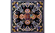 48 Black Marble Center Table Top Multi Stone Parrot Inlay Decor Furniture B560