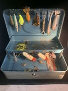 Lot Of 19 Vintage Fishing Lures And Old Tackle Box Heddon Lucky 13