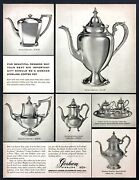 1955 Gorham Sterling Silver Coffee Pots And Tea Service 6 Photo Vintage Print Ad