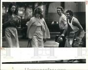 1981 Press Photo Hardhats From Medical Construction Site At The Erieview Plaza