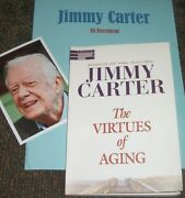 Jimmy Carter Signed ,book Virtues Of Aging-and Photos Real Collectible
