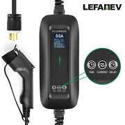 6-16a Ev Charger Level2 Electric Car Charging Cable 6-20p Timing Lcd Screen Evse