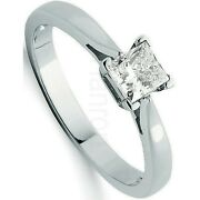 Certificated Diamond Solitaire Ring Princess Cut White Gold Large Sizes R - Z
