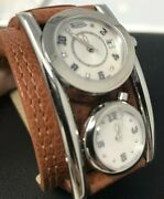 New Von Dutch Dutchman Dual Time Two Dial Swiss Automatic Skull Brown Watch