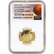 2020-w Us Gold 5 Basketball Commemorative Proof Ngc Pf70 Early Releases