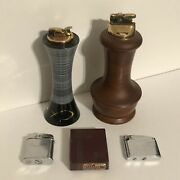 Vintage Evans And Ronson Table Pocket Lighters Lot Of 4 Whirlwind And Adonis W Box