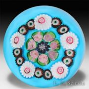 Antique Clichy Millefiori And Roses On Turquoise Ground Glass Art Paperweight