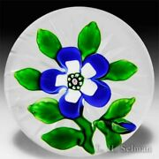 Antique Baccarat White And Blue Wallflower Glass Art Paperweight