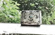 Antique 1800and039s Navajo Stamped Sterling Silver Turquoise Lidded Snuff Box