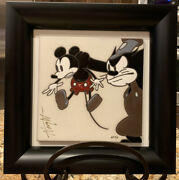 Rare Steamboat Willie And Pete Art Ceramic Tile Allyson Vought Ap3 Disney Mickey