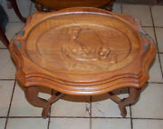 Caved Walnut Queen Elizabeth And Charles Glass Top Coffee Table Serving Tray Ct252