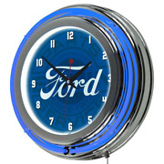 3 In. X 14 In. Genuine Parts Chrome Double Rung Ford Neon Wall Clock