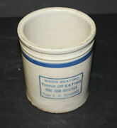 Antique Red Wing Stoneware Crock Beater Jar With Advertising - Schissel Grocerie