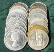 Mixed Date Roll Of Canada 80 Silver Dollars, 20 Canadian 1 Coins, 12 Oz Asw