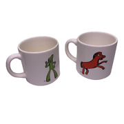 Rare Gumby Pokey Made In Brazil Vintage Coffee Mug Set Of Two 2 Collector