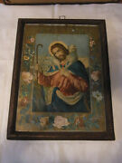 Antique German Tramp Art Picture Frame Chip Carved With Good Shepherd Print