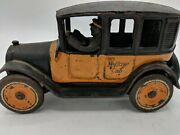 Arcade Cast Iron Taxi Yellow Cab Car With Driver 8 1920's