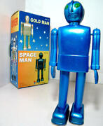 Robot Space Wind Up Tin Toy Rare Space Man Blue Ms422
